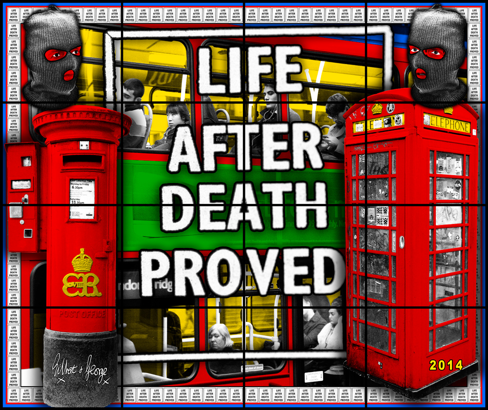 arndt gilbert george gilbert george life after death from utopian pictures 2014 16 panels 254 × 302 cm gilb0172