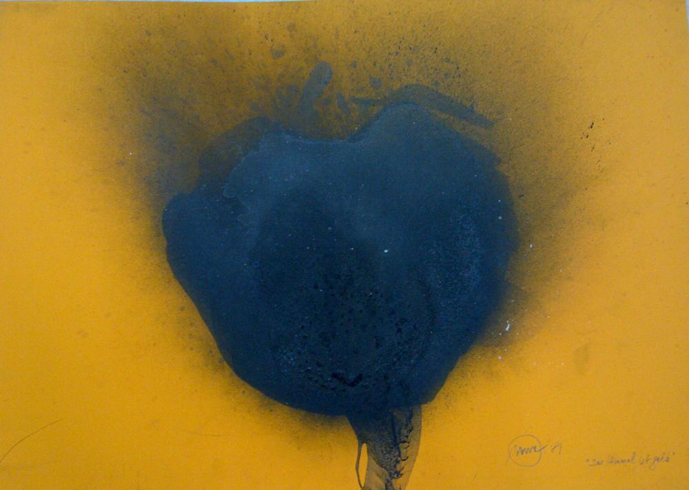 Otto Piene, Der Himmel ist Gelb, 1981, Fire gouache on board, 68 x 96 cm   26.77 x 37.8 in, ...
